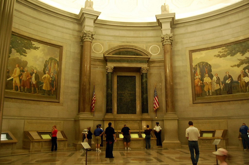 National Archives Great Hall with historic documents