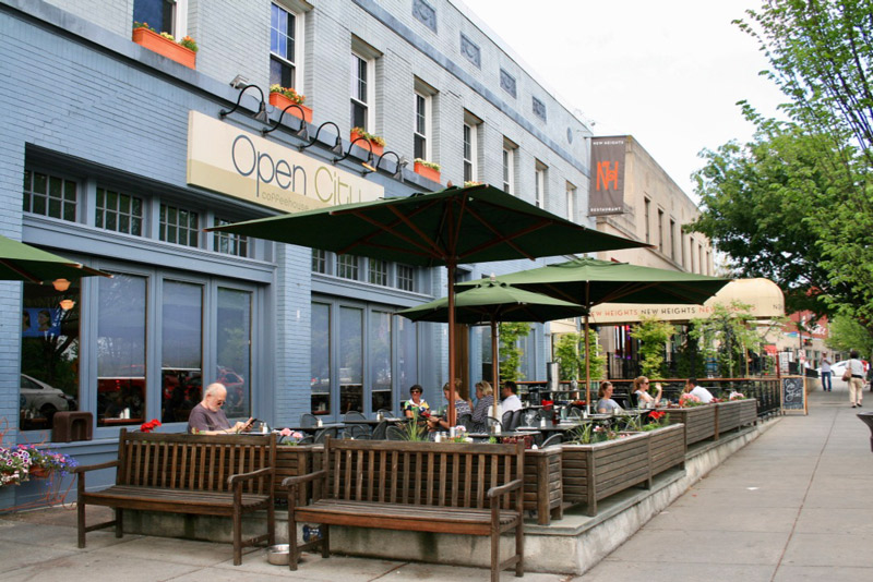 Diners on the Open City patio in Woodley Park - Brunch spots in Washington, DC