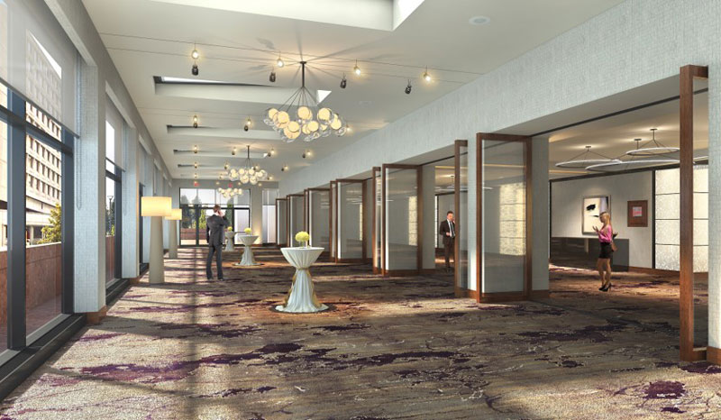 Rendering of ballroom and solarium at the Hilton Washington DC National Mall - Sustainable hotel and venue in Washington, DC
