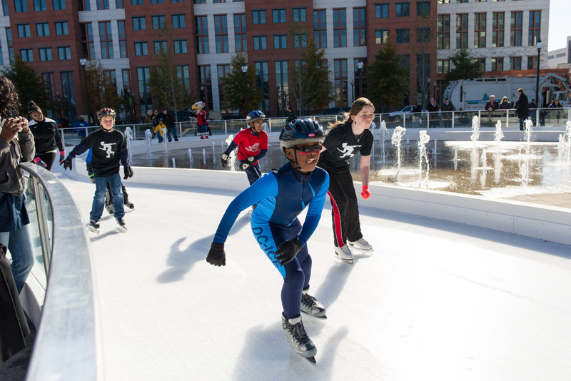 Kids ice skating at Canal Park ice rink on the Capitol Riverfront - Things to do in Washington, DC