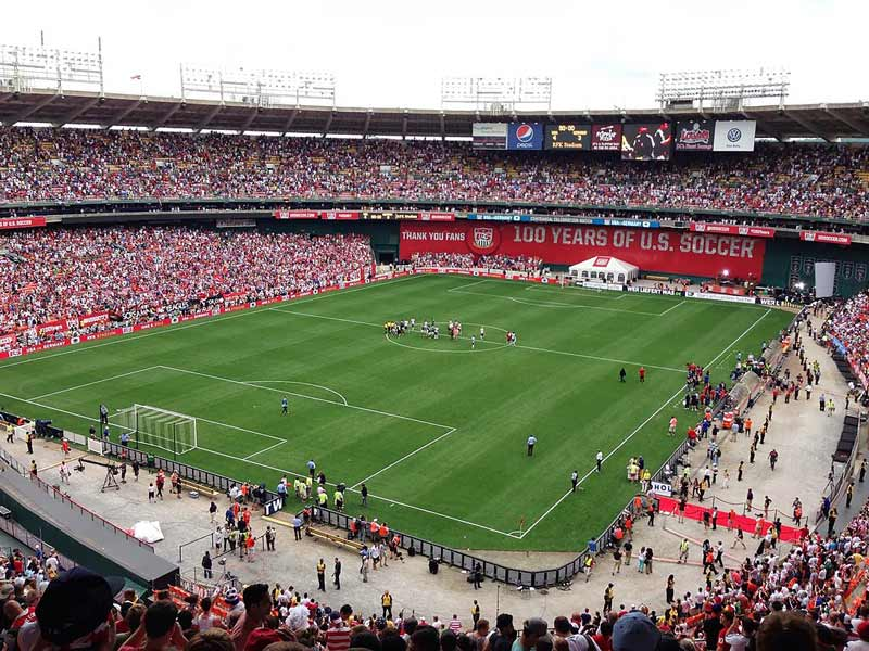 International soccer match at Robert F. Kennedy Memorial Stadium - Sports events at RFK Stadium in Washington, DC