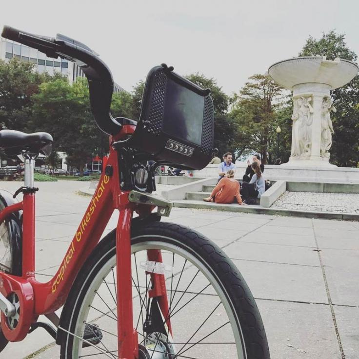 @joeflood - Capital Bikeshare bike at Dupont Circle fountain - Things to do in Washington DC's Dupont Circle neighborhood