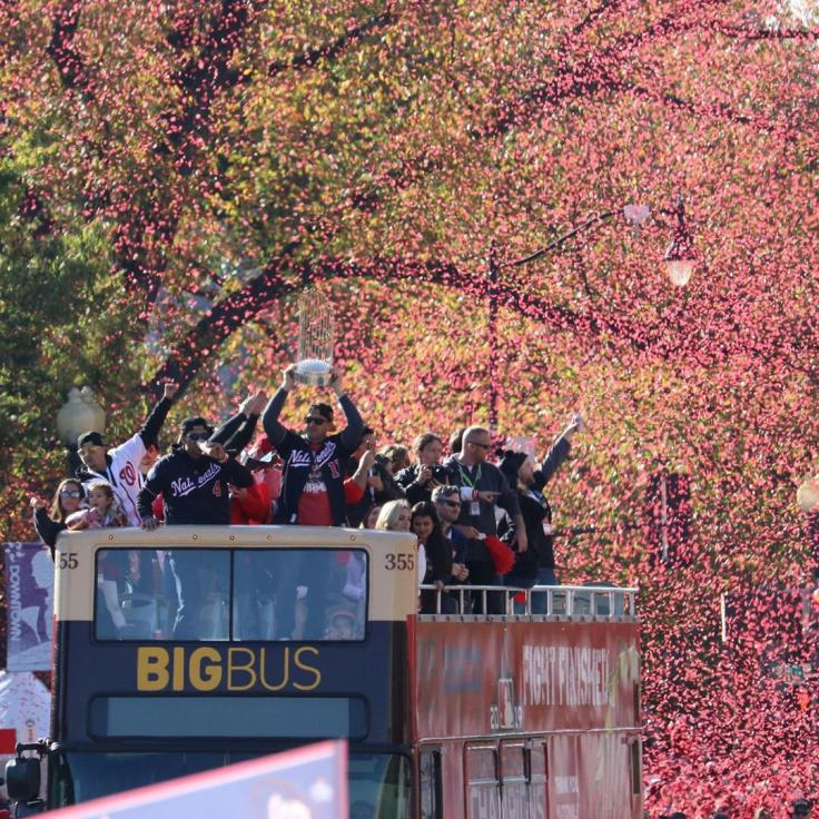 Nationals Baseball team on BigBus Championship Game Winners
