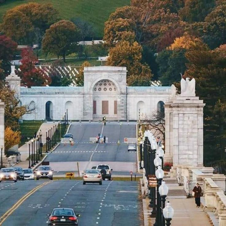 @sharonmariewright - Fall foliage over Arlington Bridge into Arlington National Cemetery - Attractions in Washington, DC