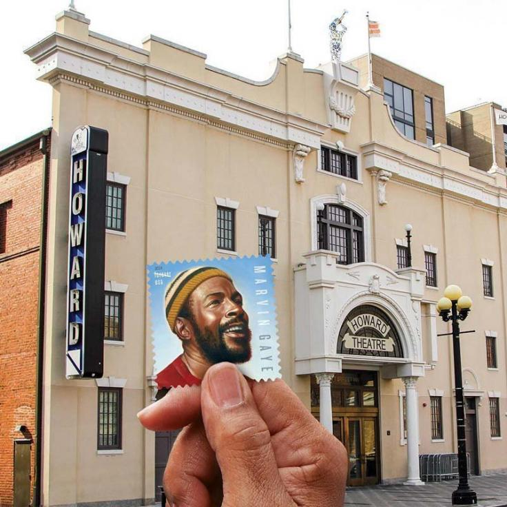 @uspostalservice - Marvin Gaye stamp pictured in front of the Howard Theatre in DC's Shaw neighborhood