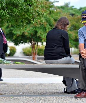 Father and daughter at the National 9/11 Pentagon Memorial in Virginia