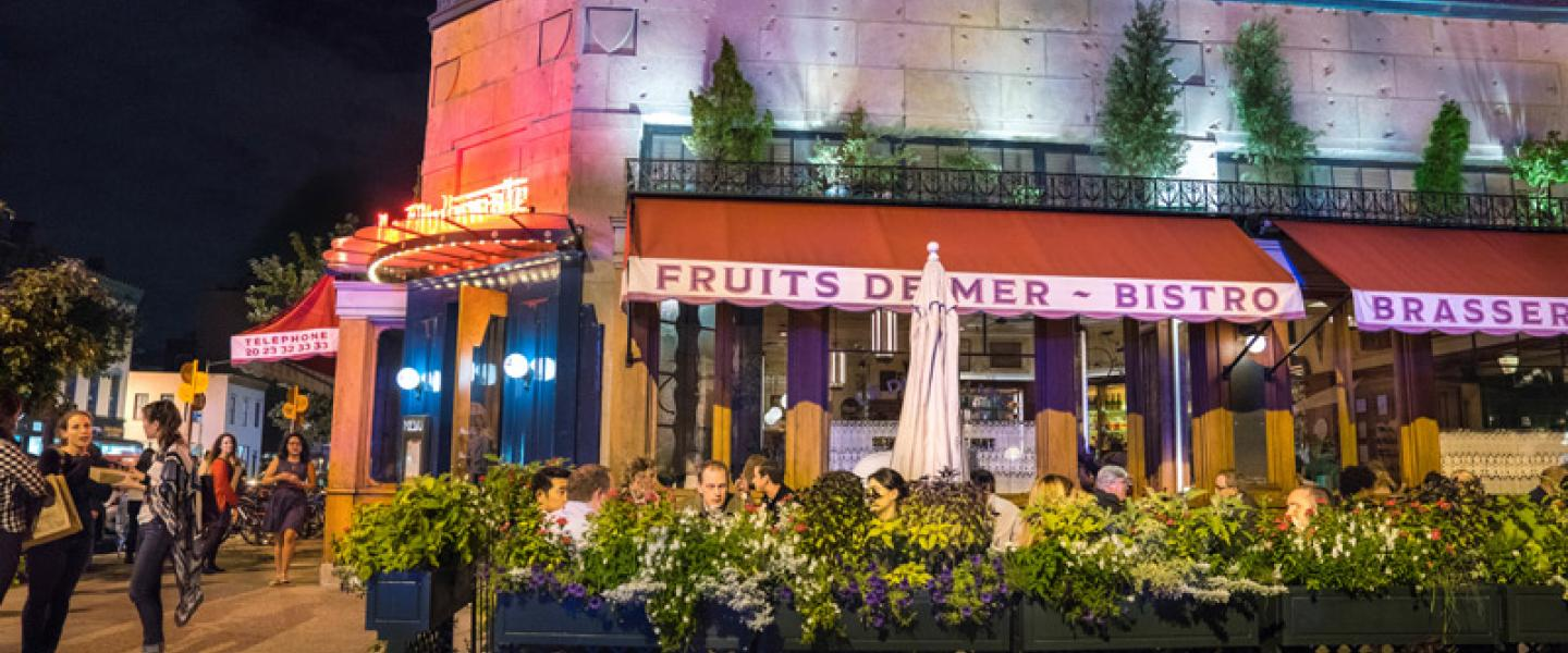 Nighttime patio dining at Le Diplomate on 14th Street - Stephen Starr Restaurant in Washington, DC