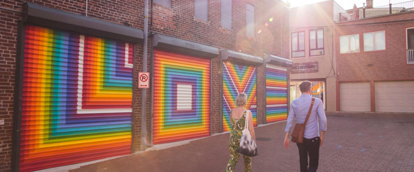 Colorful street art mural in Shaw's Blagden Alley - Historic alleyway in Washington, DC